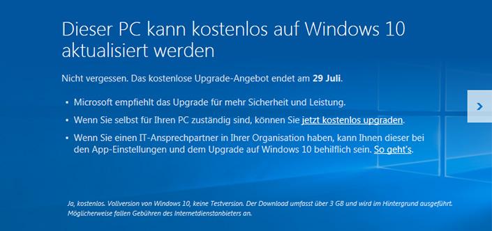 Kostenlos auf Windows 10 updaten